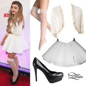 skirt,poodle skirt,ariana grande,white skirt,nude tights,black heels,white sweater,dress