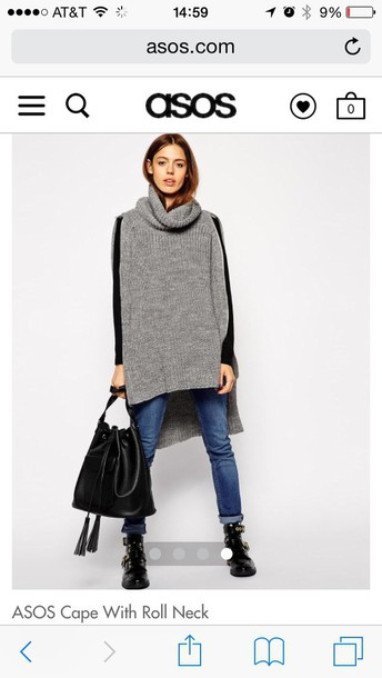 sweater asos cape with roll nek