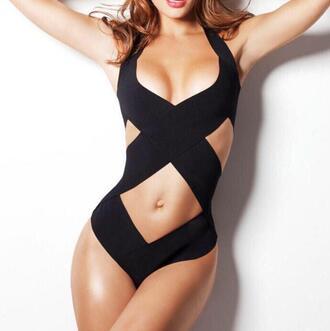 swimwear black swimwear onepiece summer spring break sexy swimsuit