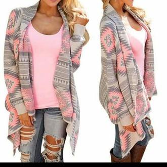 sweater cardigan kimono grey neon pink fashion trendy long sleeves pattern casual geometric print long sleeve asymmetric cardigan for women asymmetrical clothes