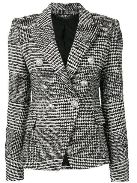Balmain blazer women cotton black wool jacket