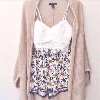shorts bralette top floral cardigan
