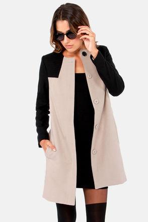 BB Dakota Hana Coat - Black Coat - Taupe Coat - $111.00