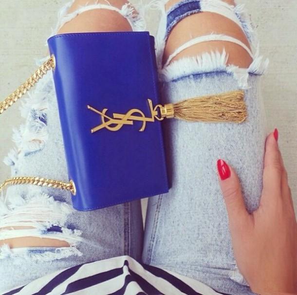 Bag: royal blue, clutch, cluch, handbag, gold, tassel, ysl ...
