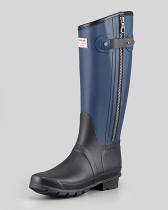Hunter Boot Rag & Bone Tall Two-Tone Zip Boot, Black/Navy - Neiman Marcus