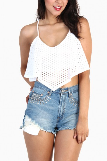 LoveMelrose.com From Harry & Molly | POLKA DOT LACE RUFFLE CROP TOPS - WHITE