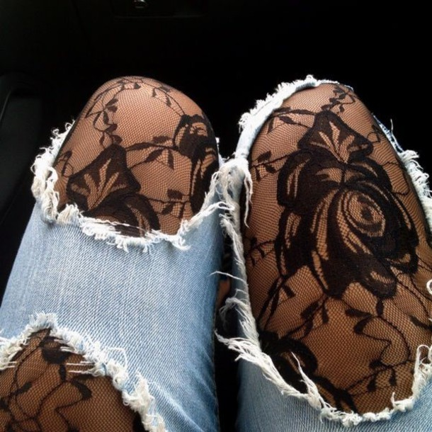 tights lace black grunge jeans ripped jeans floral vintage