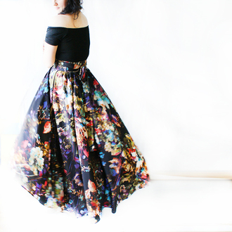 shirt flowers skirt maxi skirt black shoes midi skirt floral colorful floral print floral skirt bohemian skirt boho style maxi boho skirt bohemian style long skirt with bow top with long skirt flowers skirt flowered skirt bow ties black skirt flowers print romantic dress romantic maxi dress maxi