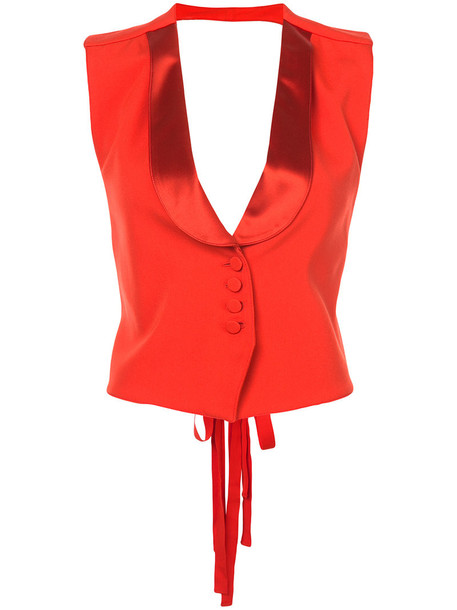 Givenchy vest women backless silk wool satin red jacket
