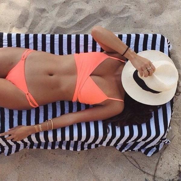 swimwear bikini criss cross hat coral bikini top cute beach