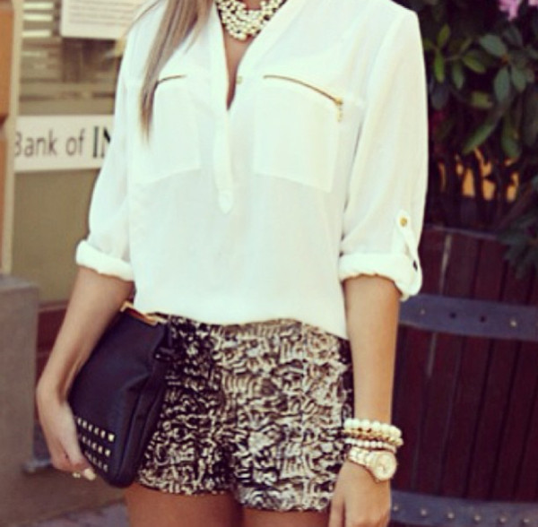 shorts gold glitter bag shirt blouse