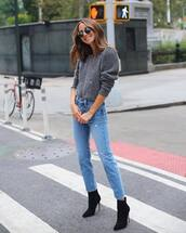 sweater,grey sweater,denim,jeans,blue jeans,boots