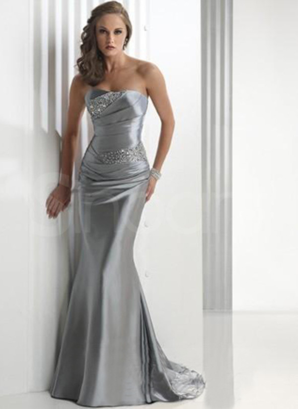 dress silver made of satin strapless and sleeveless with beadings sweep train dresses