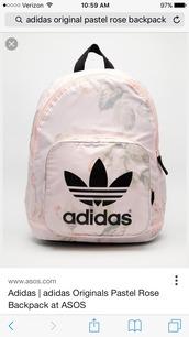 bag,backpack,adidas,adidas originals,pastel pink,rose