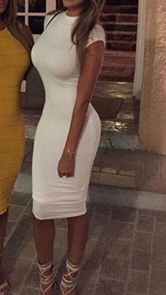 dress white midi midi dress bodycon dress cap sleeve cap sleeves dresses jersey dress