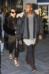 coat,kim kardashian,fur coat,winter coat,pants