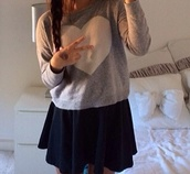 sweater,heart,grey sweater,white hearts,pretty little liars,pink by victorias secret,skirt