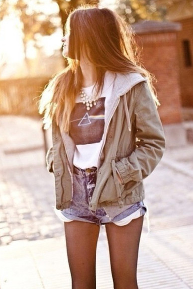 jacket t-shirt shorts hood brown girl summer hair smile springsummer denim jacket vintage coat