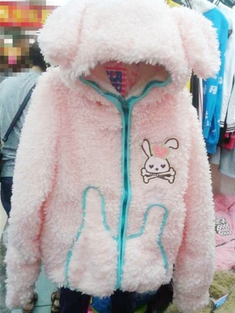 jacket lolita kawaii girly pastel pink fluffy jumper japanese fashion sweet lolita anime japan