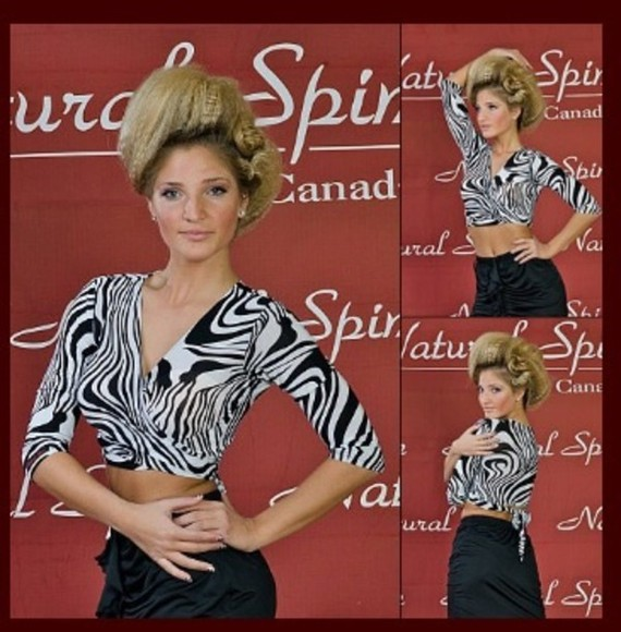 zebra shirt black and white practice wear, latin dance top