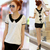 2013 Summer Women's Plus Size Peter Pan Collar Chiffon Shirt Short sleeve Shirt Lace Shirt Top,Back with Bow Free Shipping-inBlouses & Shirts from Apparel & Accessories on Aliexpress.com