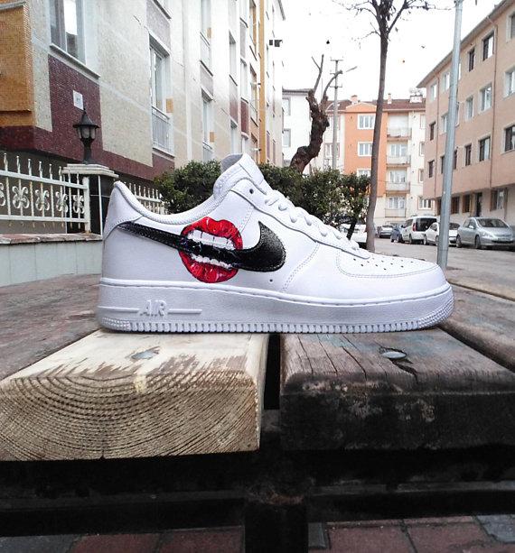 Custom Nike Air Force one ,lips , kiss , bite ,custom