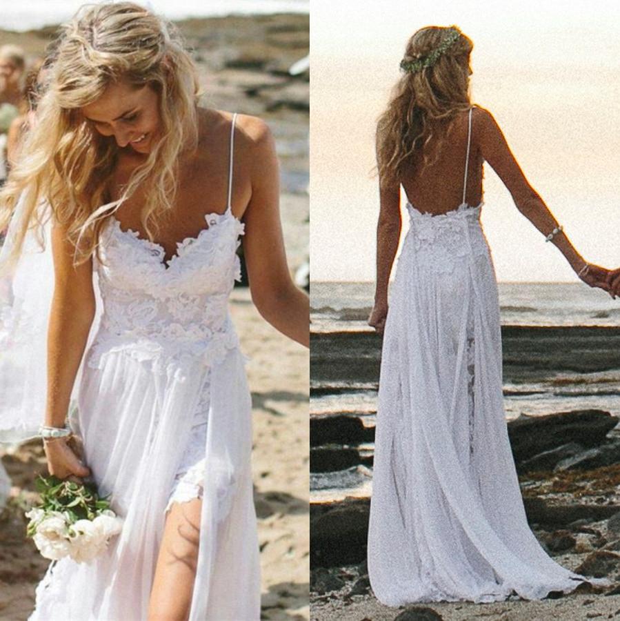 2014 Sexy White Ivory Beach Wedding Dresses Spaghetti Strap Lace