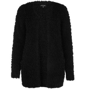 Black pocket front fluffy cardigan
