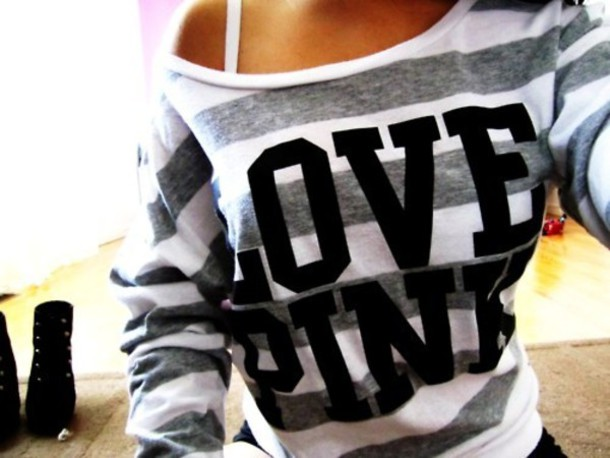 Sweater: victoria's secret, crewneck, stripes, striped sw, striped ...