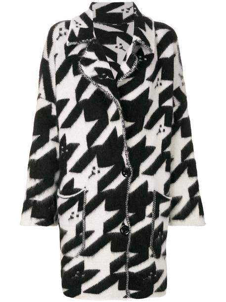 Diesel - dogtooth cardi-coat - women - Acrylic/Nylon/Spandex/Elastane/Mohair - S, Black, Acrylic/Nylon/Spandex/Elastane/Mohair