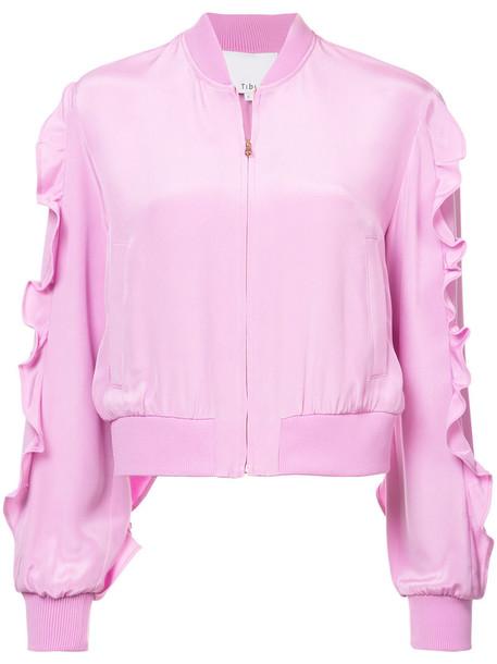 Tibi jacket bomber jacket ruffle women spandex silk purple pink