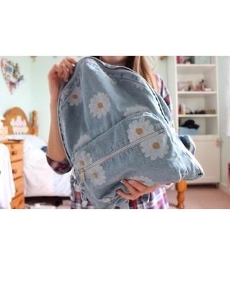 bag cute backpack flowers blue jeans