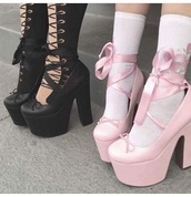 shoes,grunge shoes,platform shoes,platform heels,lace up heels,black platforms,pink,platform pumps,high heels,black heels,pink high heels,bows on shoes,tights,black,nylons,pantyhose,goth,grunge,alternative,hipster,lace up,pink shoes,pumps,heels,ribbons,chunky heels,tumblr,aesthetic,girly,pink heels,pastel goth,goth shoes,gothic lolita,lolita,lolita shoes,pastel goth shoes