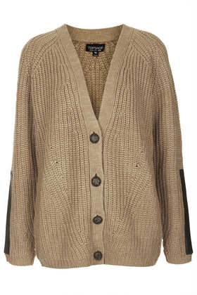 Knitted Pu Patch Rib Cardi - Knitwear  - Clothing  - Topshop