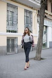 lady addict,blogger,bag,sunglasses,burgundy shoes,heels,grey sweater,blue pants,pink coat
