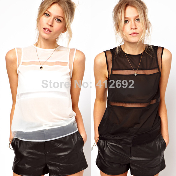 Nastygalebay Pure Women's Chiffon Shirt Sleeveless Yarn Transparent White and Black Color-in Blouses & Shirts from Apparel & Accessories on Aliexpress.com