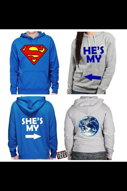 Sweater: superman, couple sweaters, matching couples, jacket, t ...