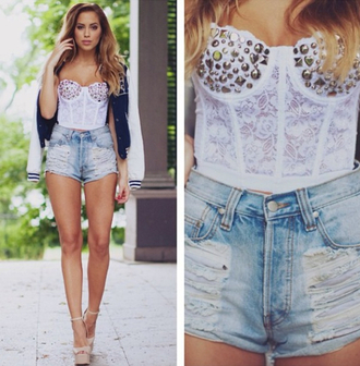 tank top white lace studs corset top lace