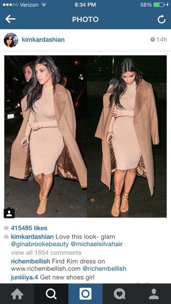 dress kim kardashian turtleneck pencil dress bodycon dress midi dress coat nude dress fashion