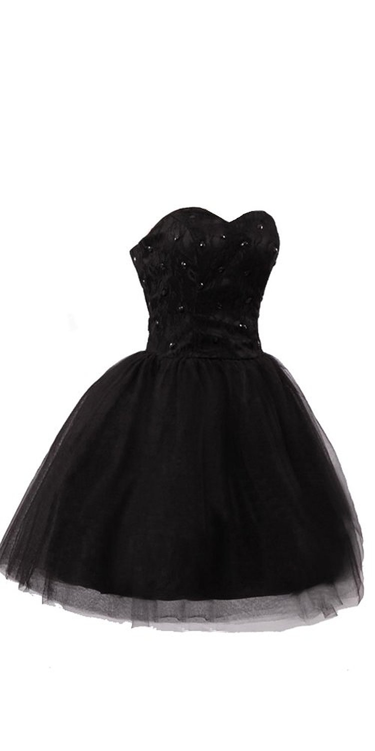 Amazon.com: Black Sweetheart Lace Tulle Short Prom Gowns: Clothing