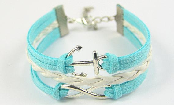 Infinity bracelet anchor bracelet leather bracelet jewelry bracelet gift girlfriend