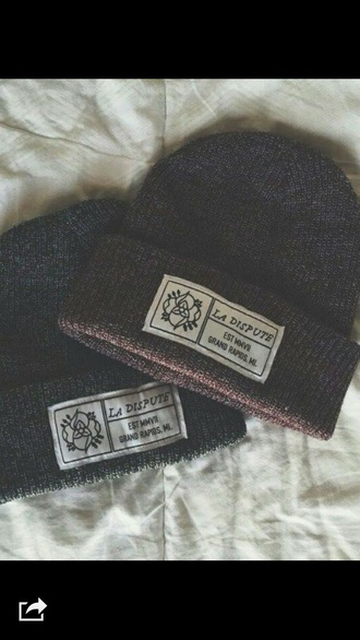 hat grey black white blue beanie la disput grand rapids