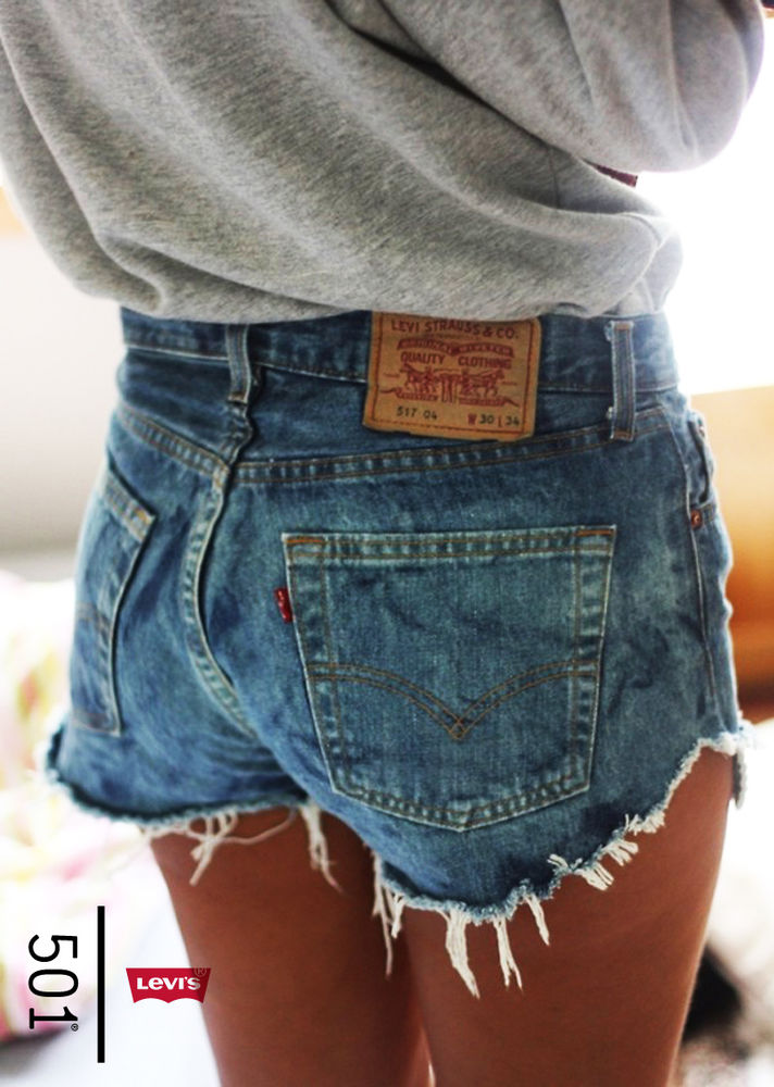 Levis 501 High Waisted Hotpant Cut off Stone Wash Denim Shorts