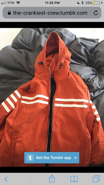 jacket orange white striped