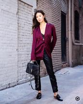 jacket,leather pants,tumblr,satin,purple,pants,black pants,shoes,mules,bag,black bag