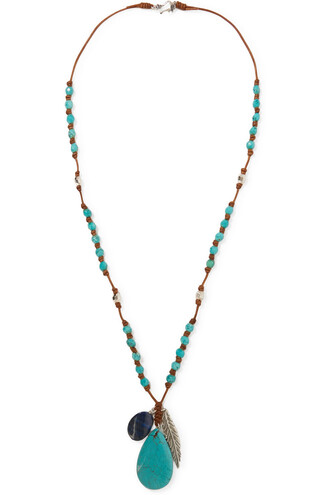 stone necklace necklace leather turquoise jewels