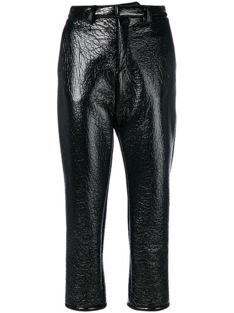 cropped women vinyl black wool pants