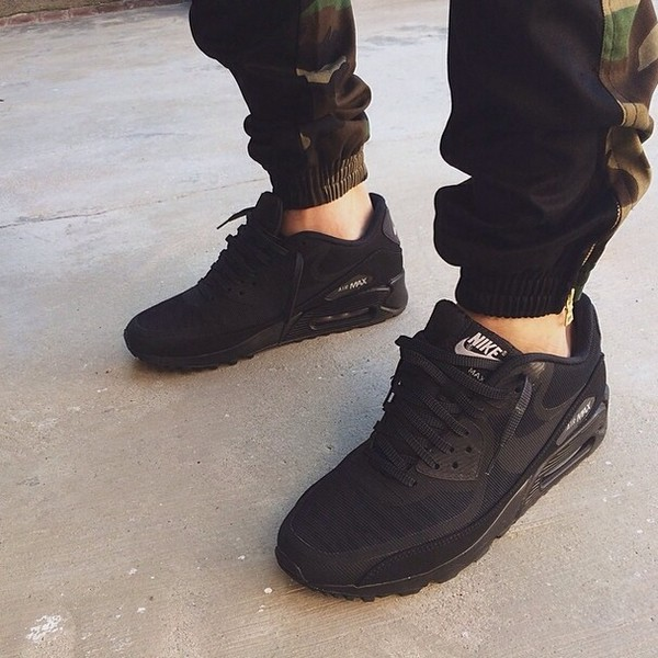 Nike Air Max 90 Black Leather On Feet