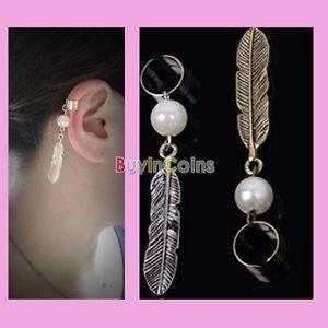Gothic leaf feather pearl dangle earrings clip on non pierced leaf ear cuff rtca
