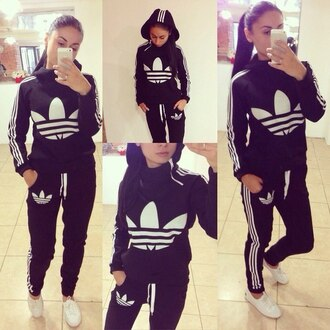 black fashion style jacket hoodie pants sportswear jumpsuit black and white long sleeves adidas tracksuit sweatsuit sporty style zip 3 stripes